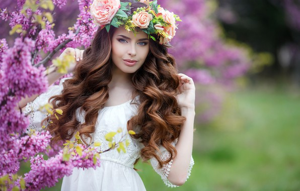 Picture flowers, branches, background, portrait, spring, makeup, garden, dress, hairstyle, brown hair, beauty, wreath, the bushes, …