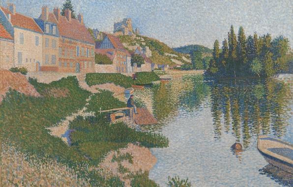 Picture the city, river, boat, home, picture, Paul Signac, pointillism, Les Andelys