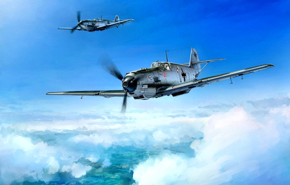 Picture Germany, Messerschmitt, painting, Air force, The second World war, piston fighter, Bf.109E-3, Bavarian Aircraft Works, …