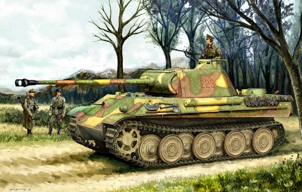 Picture Figure, soldiers, tank, average, Panzerkampfwagen V Panther, German, The second World war, WW2, Tank weapon, …