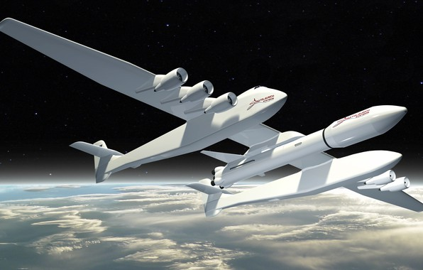 Picture The sky, Clouds, The plane, Space, Earth, Rocket, The plane, 351, Stratolaunch, Stratolaunch Model 351, ...