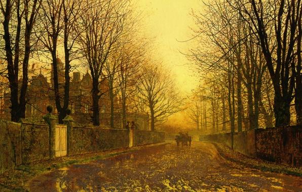 Picture landscape, the city, street, picture, John Atkinson Grimshaw, John Atkinson Grimshaw, Autumn Evening