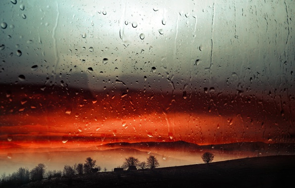 Picture drops, sunset, rain, the evening, window