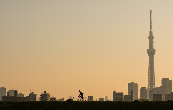 Picture the city, morning, cyclist, Tokyo, Higashiyotsugi 3-Chome