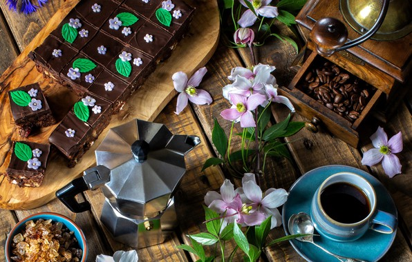 Picture flowers, coffee, pie, sugar, clematis, coffee grinder, coffee pot