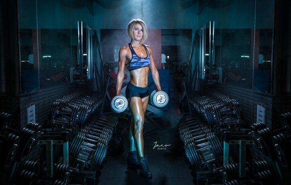 Picture female, workout, fitness, gym, Gym, dumbbells