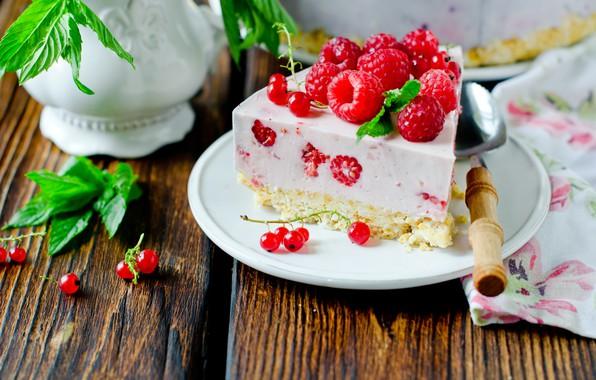 Picture berries, raspberry, cake, cream, dessert, cheesecake