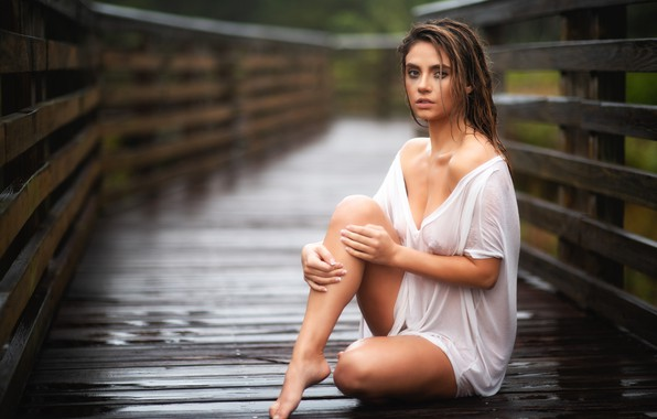 Picture look, girl, pose, rain, portrait, Christopher Rankin