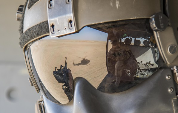 Picture glass, reflection, helicopter, helmet, helmet
