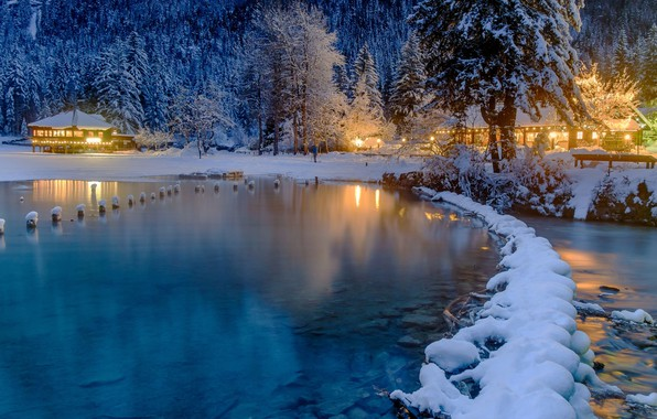 Picture winter, snow, trees, lake, home, the evening, ate, lighting, Alps, Italy, forest