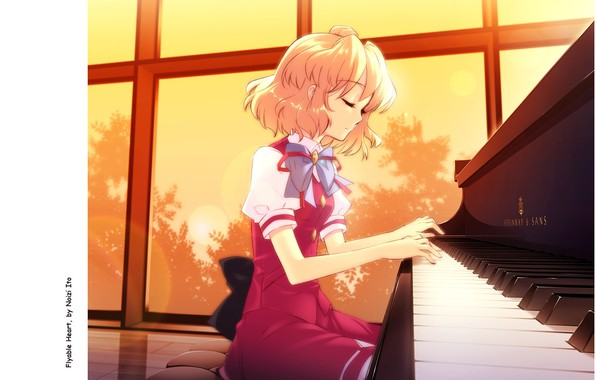 Picture the game, window, girl, piano, bow, school uniform, art, closed eyes, visual novel, noizi ito, …