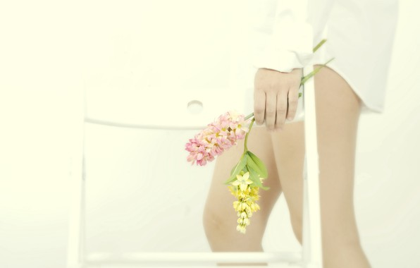 Picture girl, flowers, feet, chair