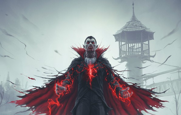 Picture red, fog, power, magic, blood, tower, fantasy, vampire, blood, cloak, undead, Dracula, vampire, ghoul