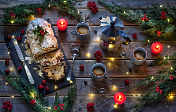 Picture branches, berries, coffee, candles, Christmas, New year, garland, Stollen