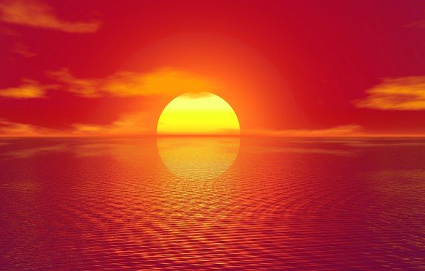 Picture sea, the sun, sunset, reflection