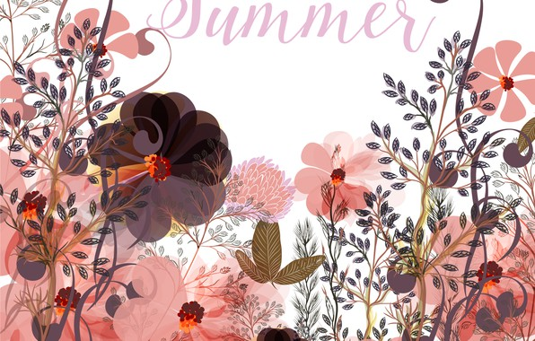 Picture flowers, the inscription, vector, texture, summer