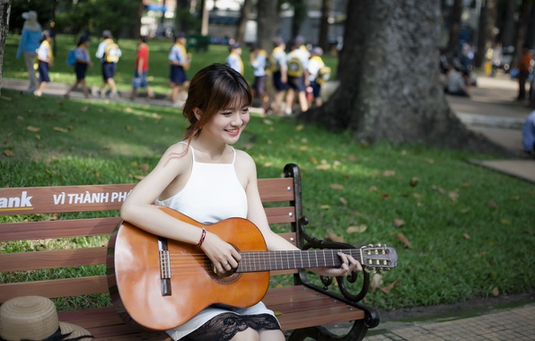 Picture girl, street, guitar
