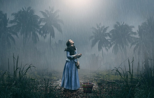 Picture girl, palm trees, rain