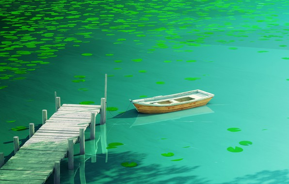 Picture water, light, reflection, green, boat, dark, Board, plant, light, pier, Lily, dark, light, water, water …