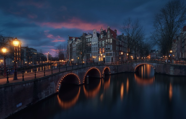 Picture light, the city, lights, home, the evening, Amsterdam, channel, bridges