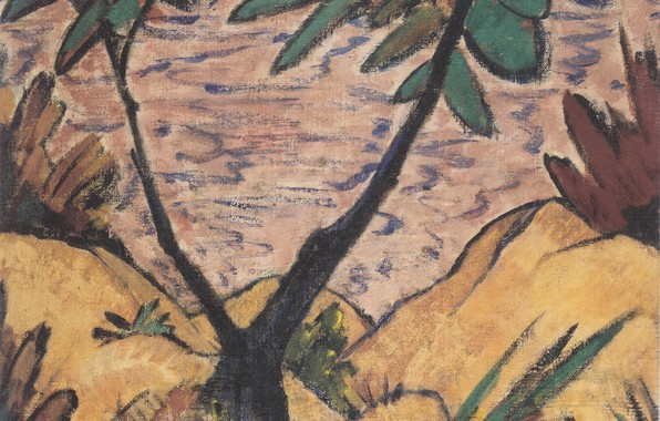 Picture Landscape, Expressionism, Otto Mueller, ca 1920, with gegabeltem tree