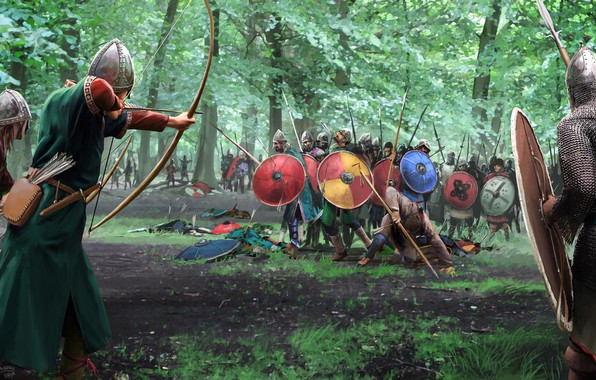 Picture weapons, Forest, battle, warrior, bow, shield, armor