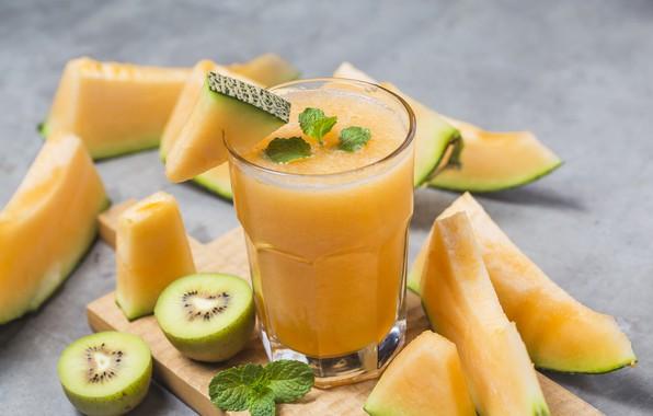 Picture kiwi, juice, drink, mint, melon