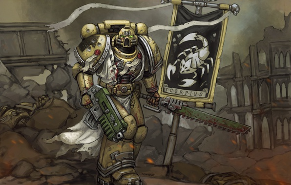 Picture sword, helmet, armor, Space Marine, Warhammer, art, Warhammer 40k, banner, Ordo Scorpius