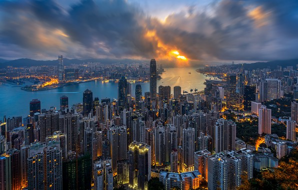 Picture City, Clouds, Sky, Sunset, Hong Kong, Sea
