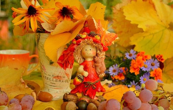 Picture Flowers, Autumn, Leaves, Doll, Grapes, Fall, Flowers, Autumn, Leaves