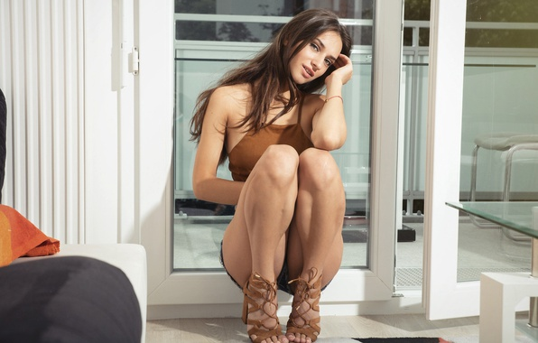 Picture look, girl, pose, shorts, makeup, figure, hairstyle, shoes, brown hair, topic, legs, beautiful, sitting, squat
