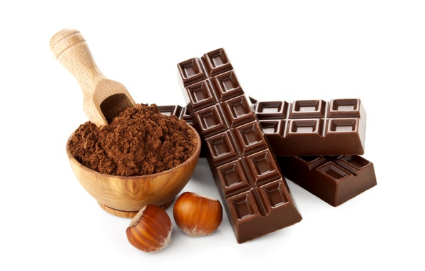 Picture chocolate, Cup, white background, nuts, hazelnuts, cocoa, bar, powder, scoop