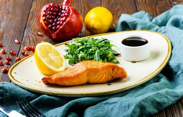 Picture lemon, food, fish, salad, salmon, Cutlery