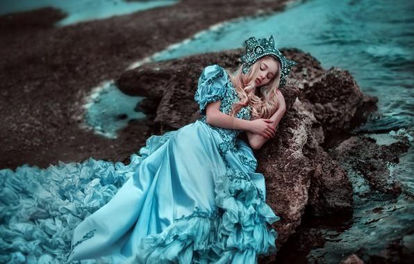 Picture sea, mood, coast, sleep, the situation, dress, sleeping beauty, Maria Lipina, Kseniya Strelkova