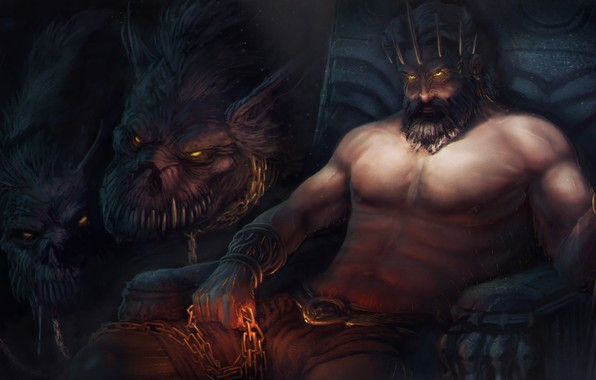 Picture the game, art, God of War, Cerberus, God, Hades, underground Kingdom