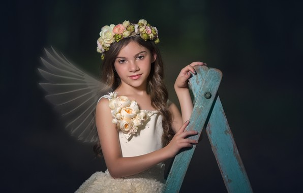Picture look, flowers, dress, girl, wings, wreath, curls