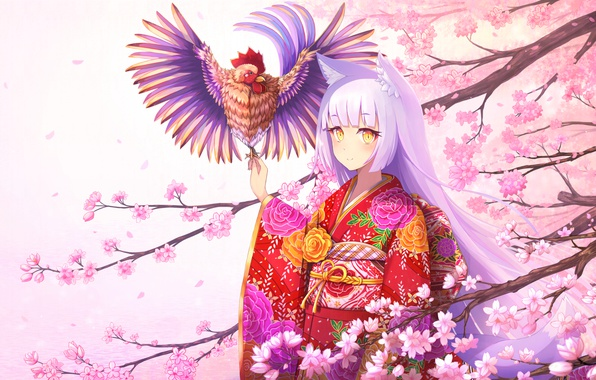 Picture water, girl, flowers, smile, tree, branch, anime, petals, Sakura, art, kimono, ears, cock, rizihike