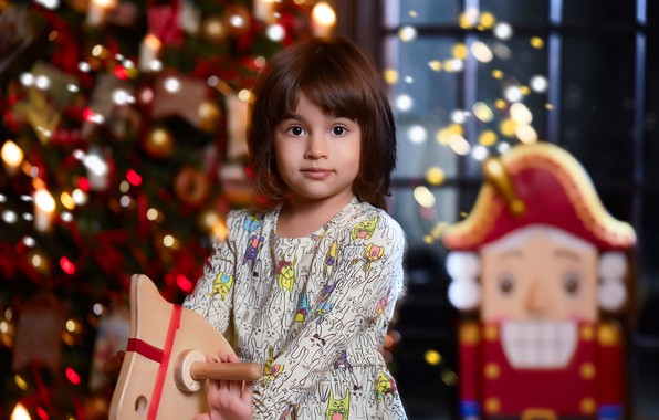 Picture lights, holiday, toys, new year, Christmas, dress, window, girl, tree, child, bokeh, horse, the Nutcracker