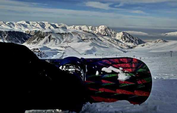 Picture mountains, snowboard, the descent, top