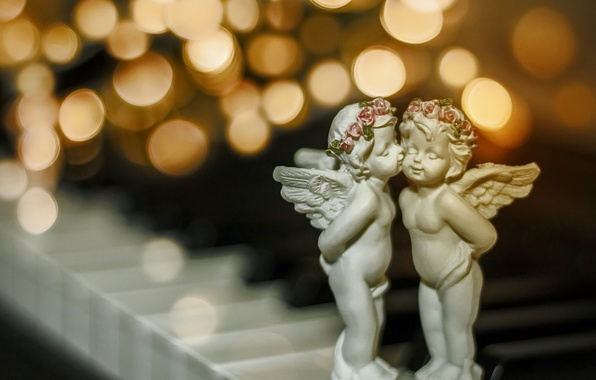 Picture macro, kiss, Christmas, bokeh, angels