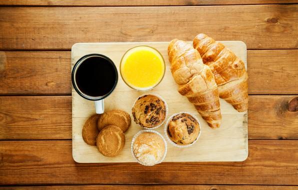 Picture coffee, juice, cupcakes, croissant
