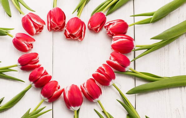 Picture flowers, heart, tulips, red, love, heart, wood, romantic, tulips, spring, red tulips