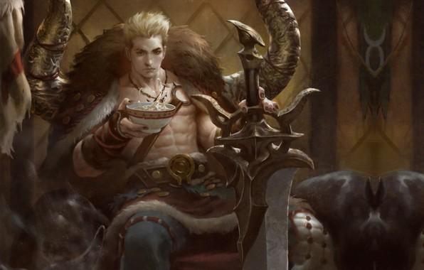 Picture sword, fantasy, the throne, Taurus, illustrator, for lasahido