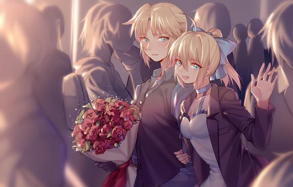 wallpaper saber  fate  apocrypha  yorukun  anime  roses
