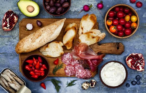 Picture berries, cheese, bread, vegetables, baguette, cherry, sandwiches, ham, salami, bruschetta, brushetta, sprats