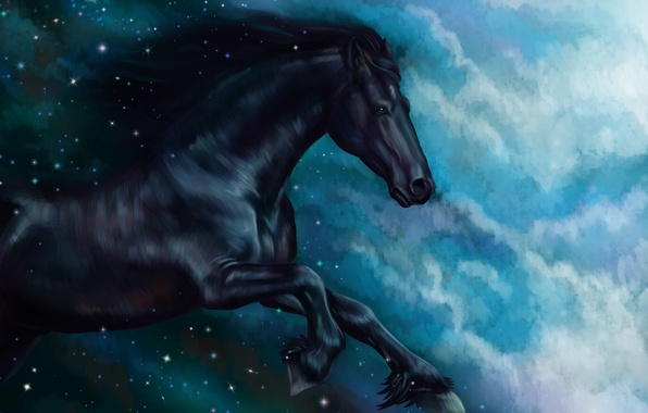 Picture horse, horse, oil, tale, art, watercolor, pencil, painting, horse, gouache, wallpaper., painting painting, sky night, ...