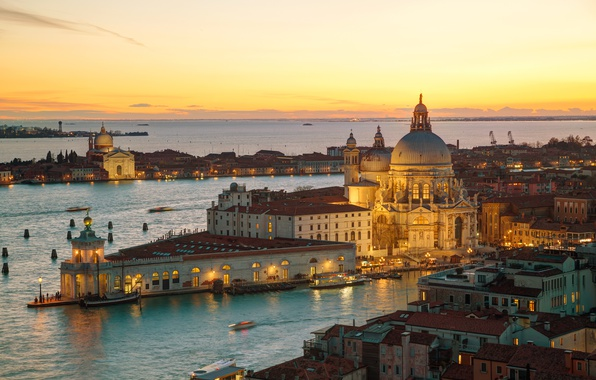 Picture sunset, city, the city, Italy, Venice, channel, cathedral, Italy, panorama, Europe, view, Venice, cityscape, travel, …