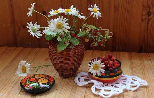 Photo wallpaper chamomile, bouquet, strawberries, vase, still life