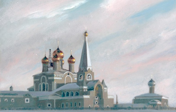 Picture Winter, Church, temple, Aibek Begalin, Two thousand one, Landscapes Of Karaganda