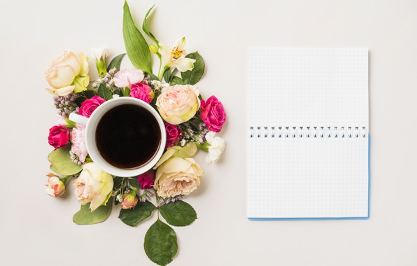 Photo wallpaper flowers, coffee, Notepad, flower, notebook, cup, coffee, composition